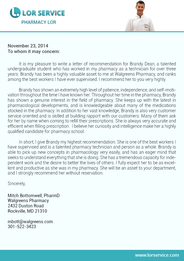 Pharmacy Letter of Recommendation Sample