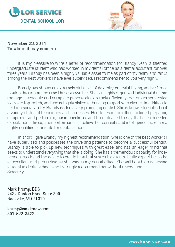 letter of recommendation for graduate school sample   lor service    dental school letter of recommendation sample