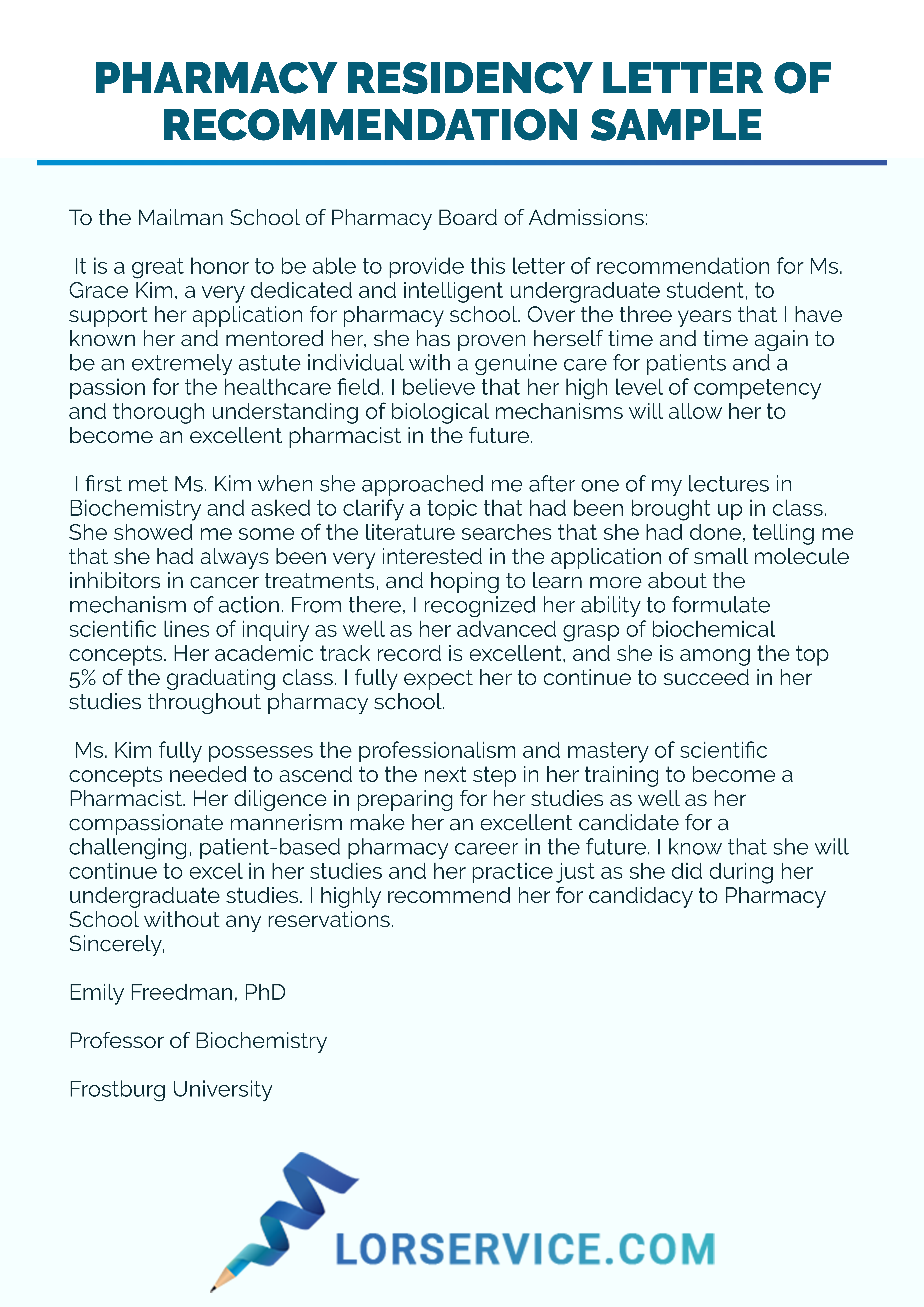 Pharmacy Residency Letter of Recommendation