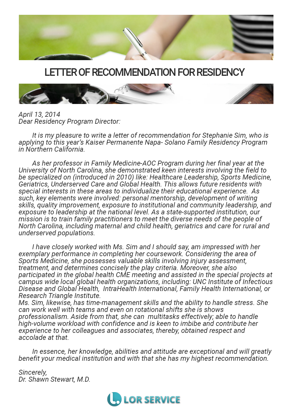 residency letter of recommendation sample medical lor