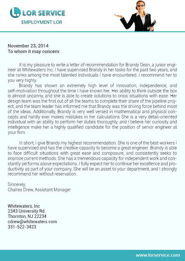 letter of recommendation for employment writing service