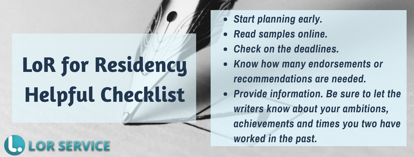 residency letter of recommendation checklist