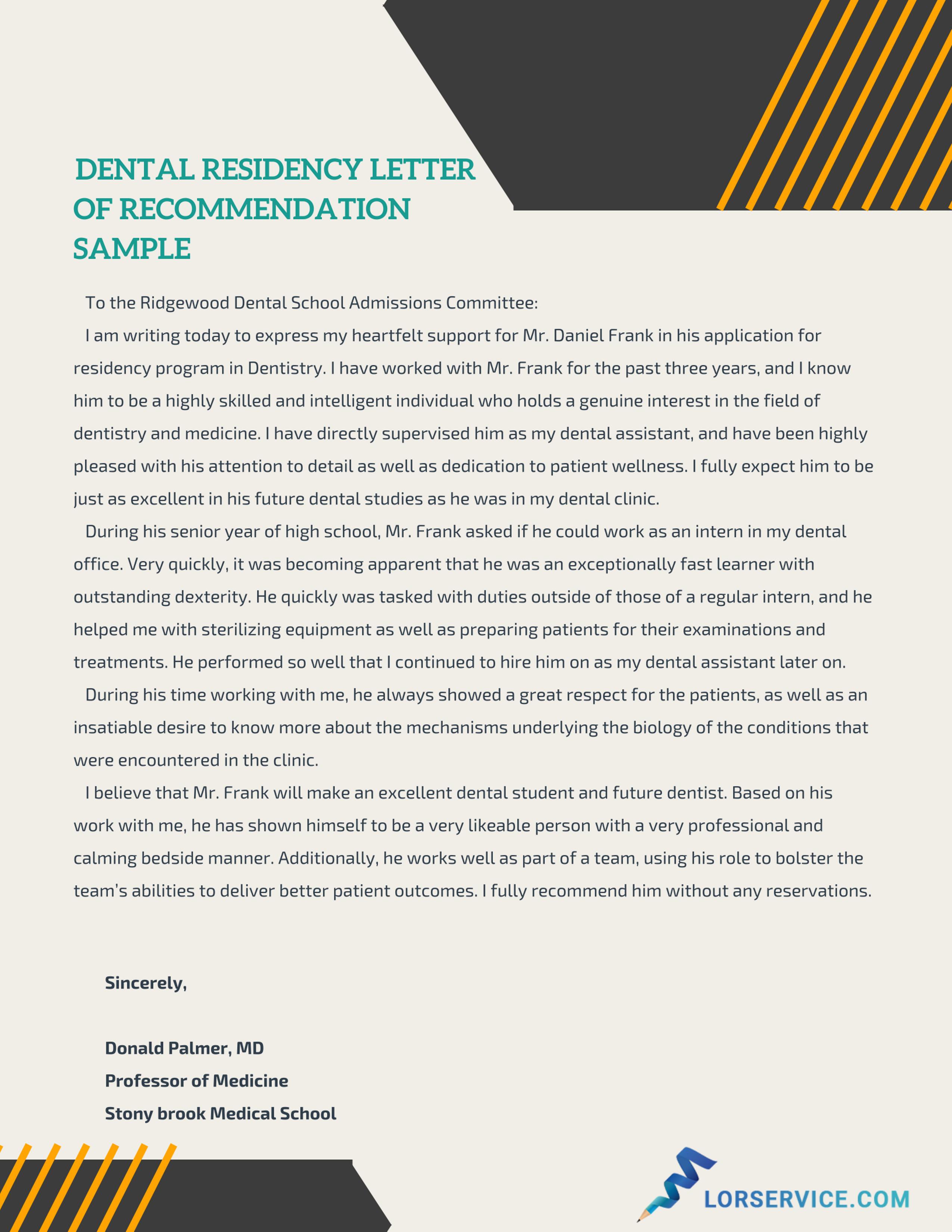 sample letter of recommendation for residency lor