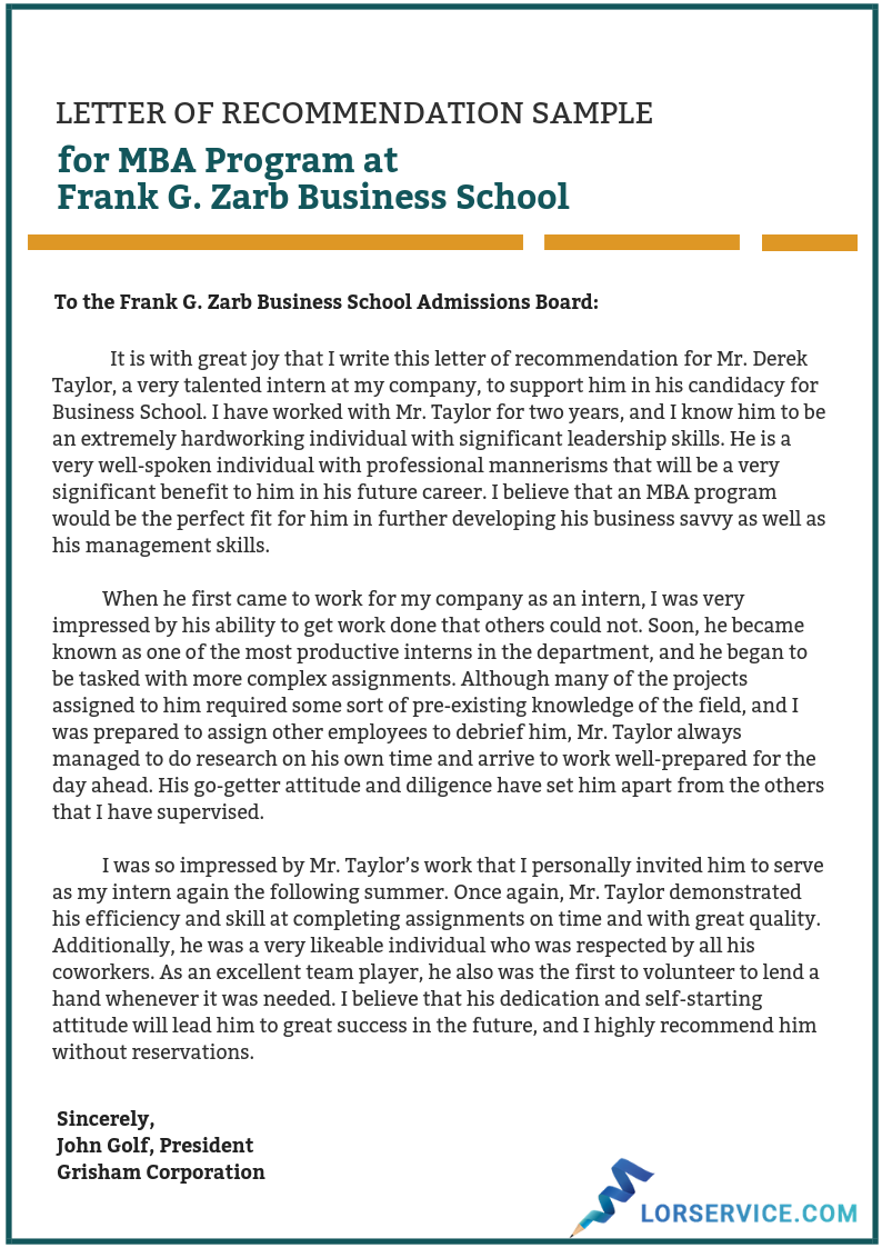 letter of recommendation for mba program sample