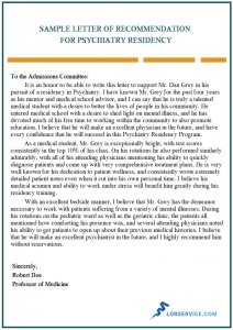 sample letter of recommendation for psychiatry residency