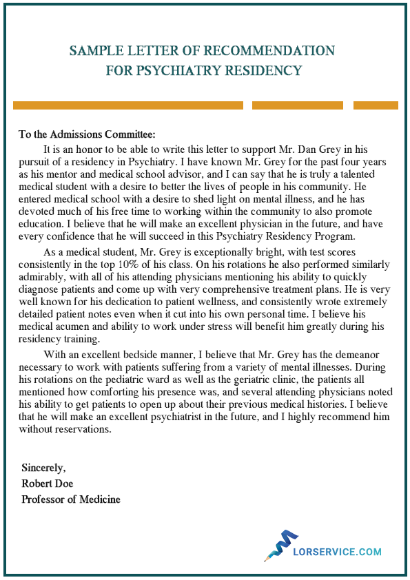 letter of recommendation psychiatry residency