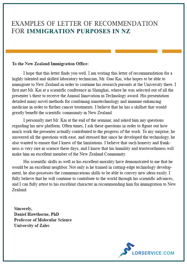 character letter of recommendation for immigration in nz