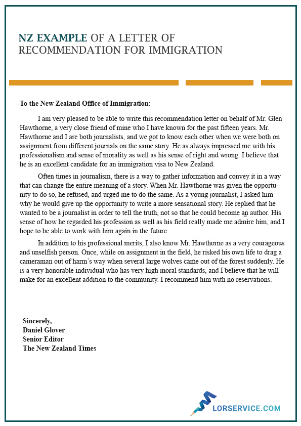 nz example of a letter of recommendation for immigration