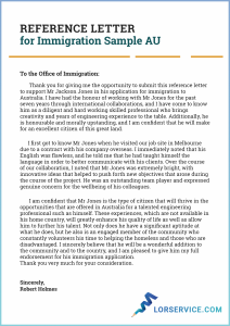 reference letter for immigration sample au
